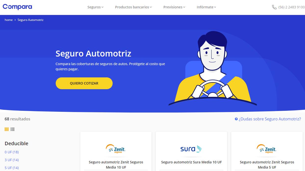Comparaonline.cl es un comparador online de seguros automotrices para conductores