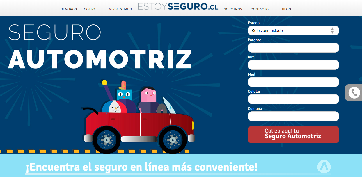 Estoyseguro.cl compara seguros automotrices entre varias compañías aseguradoras de Chile