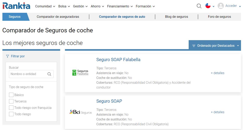 Rankia Chile es un comparador online de pólizas de seguro automotriz en Chile