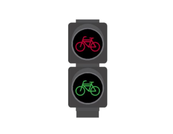 Semáforo para ciclos que controla el tráfico de bicicletas que transitan por ciclovías.