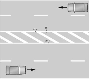 Áreas achuradas que el conductor de motocicleta no deberá sobrepasar