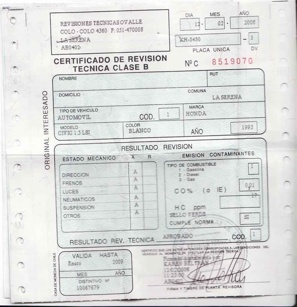 Certificado conforme se ha superado la revisión técnica de la motocicleta