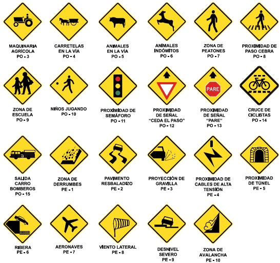 Señales de advertencia de peligro para motociclistas animales en la vía