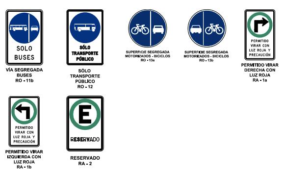Señales reglamentarias para motociclistas sólo transporte público